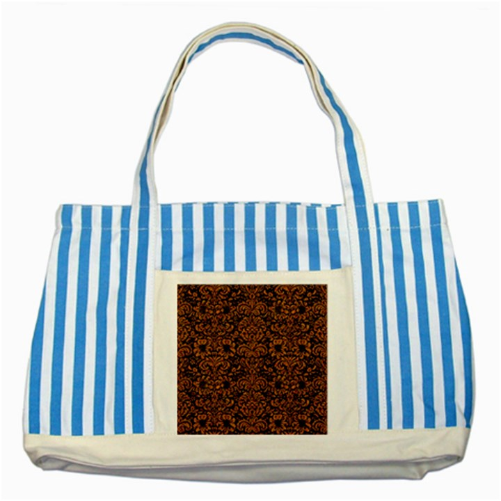 DAMASK2 BLACK MARBLE & RUSTED METAL (R) Striped Blue Tote Bag