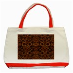 DAMASK2 BLACK MARBLE & RUSTED METAL (R) Classic Tote Bag (Red) Front