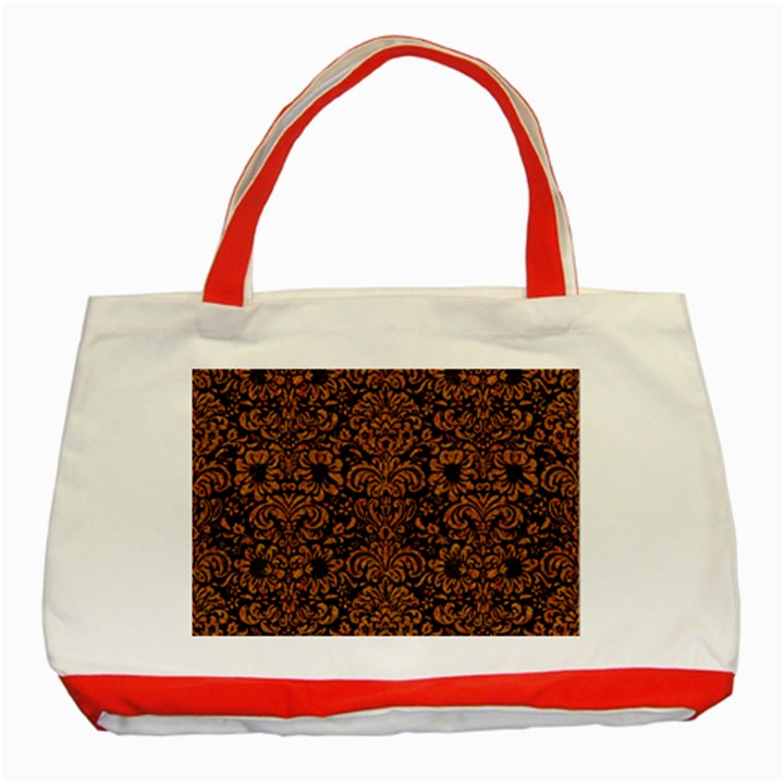 DAMASK2 BLACK MARBLE & RUSTED METAL (R) Classic Tote Bag (Red)