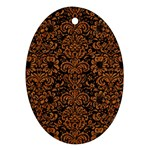 DAMASK2 BLACK MARBLE & RUSTED METAL (R) Oval Ornament (Two Sides) Back