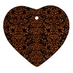 DAMASK2 BLACK MARBLE & RUSTED METAL (R) Heart Ornament (Two Sides) Front