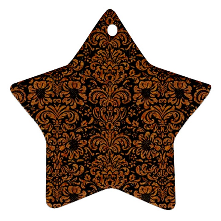 DAMASK2 BLACK MARBLE & RUSTED METAL (R) Star Ornament (Two Sides)
