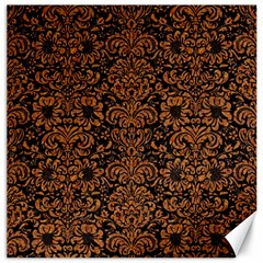 Damask2 Black Marble & Rusted Metal (r) Canvas 16  X 16