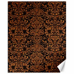 Damask2 Black Marble & Rusted Metal (r) Canvas 16  X 20