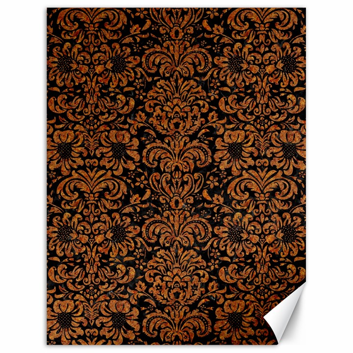 DAMASK2 BLACK MARBLE & RUSTED METAL (R) Canvas 18  x 24
