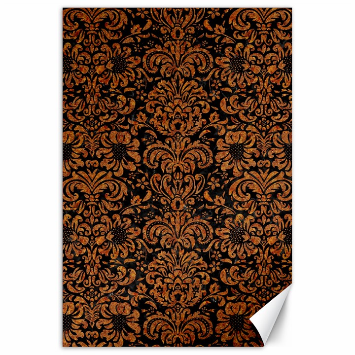 DAMASK2 BLACK MARBLE & RUSTED METAL (R) Canvas 20  x 30