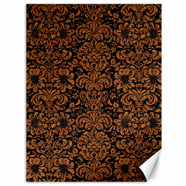 DAMASK2 BLACK MARBLE & RUSTED METAL (R) Canvas 36  x 48