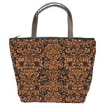 DAMASK2 BLACK MARBLE & RUSTED METAL (R) Bucket Bags Front