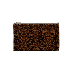 Damask2 Black Marble & Rusted Metal (r) Cosmetic Bag (small)