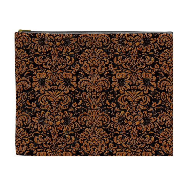DAMASK2 BLACK MARBLE & RUSTED METAL (R) Cosmetic Bag (XL)