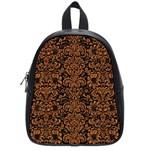 DAMASK2 BLACK MARBLE & RUSTED METAL (R) School Bag (Small) Front