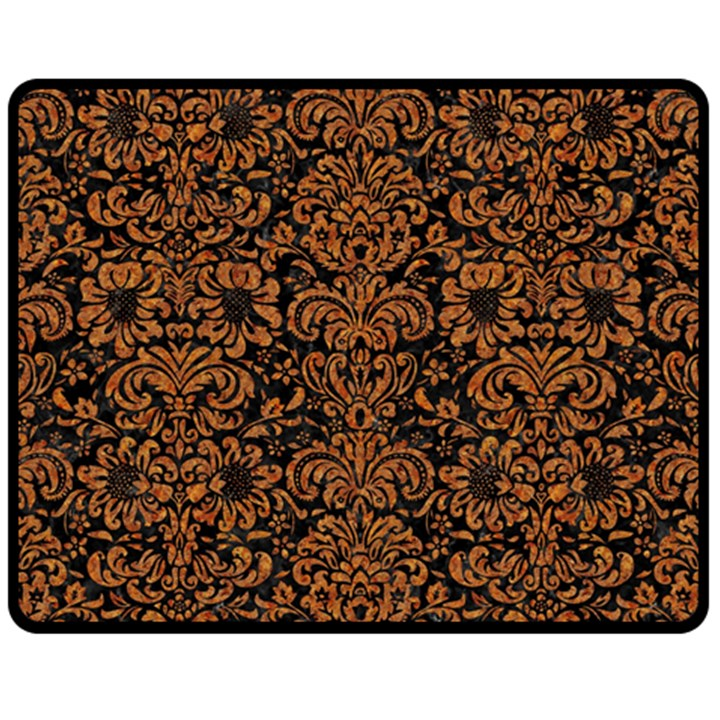 DAMASK2 BLACK MARBLE & RUSTED METAL (R) Fleece Blanket (Medium)