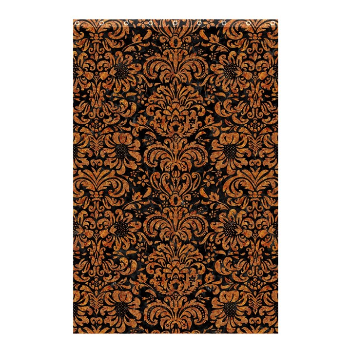 DAMASK2 BLACK MARBLE & RUSTED METAL (R) Shower Curtain 48  x 72  (Small)