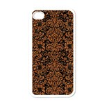 DAMASK2 BLACK MARBLE & RUSTED METAL (R) Apple iPhone 4 Case (White) Front