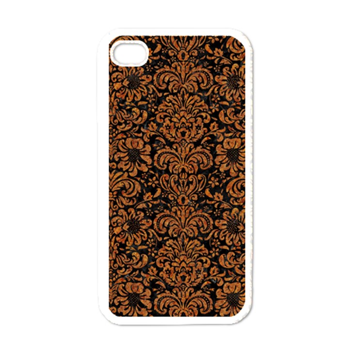 DAMASK2 BLACK MARBLE & RUSTED METAL (R) Apple iPhone 4 Case (White)
