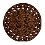 DAMASK2 BLACK MARBLE & RUSTED METAL (R) Round Filigree Ornament (Two Sides) Front