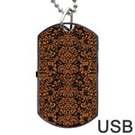 DAMASK2 BLACK MARBLE & RUSTED METAL (R) Dog Tag USB Flash (Two Sides) Front