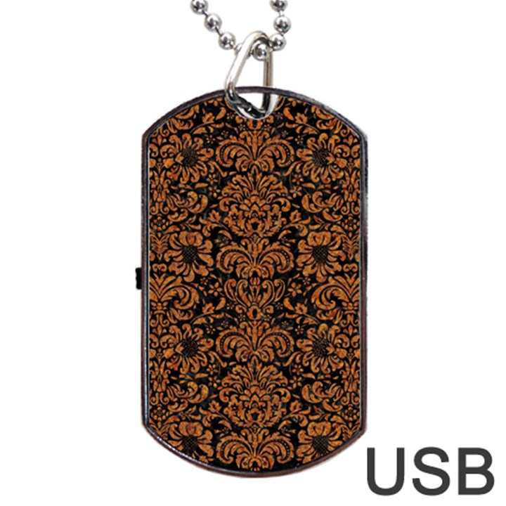 DAMASK2 BLACK MARBLE & RUSTED METAL (R) Dog Tag USB Flash (Two Sides)