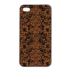 Damask2 Black Marble & Rusted Metal (r) Apple Iphone 4/4s Seamless Case (black)