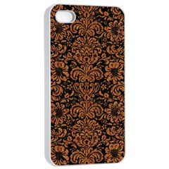 Damask2 Black Marble & Rusted Metal (r) Apple Iphone 4/4s Seamless Case (white)
