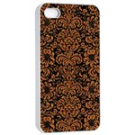 DAMASK2 BLACK MARBLE & RUSTED METAL (R) Apple iPhone 4/4s Seamless Case (White) Front