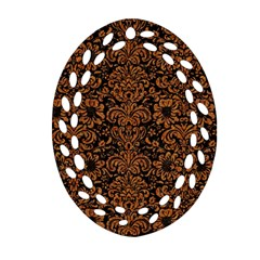 Damask2 Black Marble & Rusted Metal (r) Oval Filigree Ornament (two Sides)