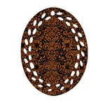DAMASK2 BLACK MARBLE & RUSTED METAL (R) Oval Filigree Ornament (Two Sides) Front
