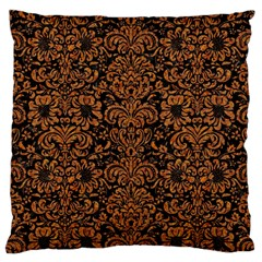 Damask2 Black Marble & Rusted Metal (r) Large Cushion Case (two Sides)