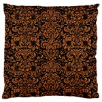 DAMASK2 BLACK MARBLE & RUSTED METAL (R) Large Cushion Case (Two Sides) Back