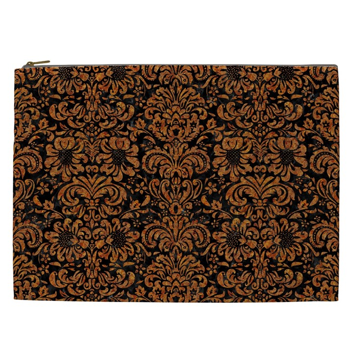 DAMASK2 BLACK MARBLE & RUSTED METAL (R) Cosmetic Bag (XXL)