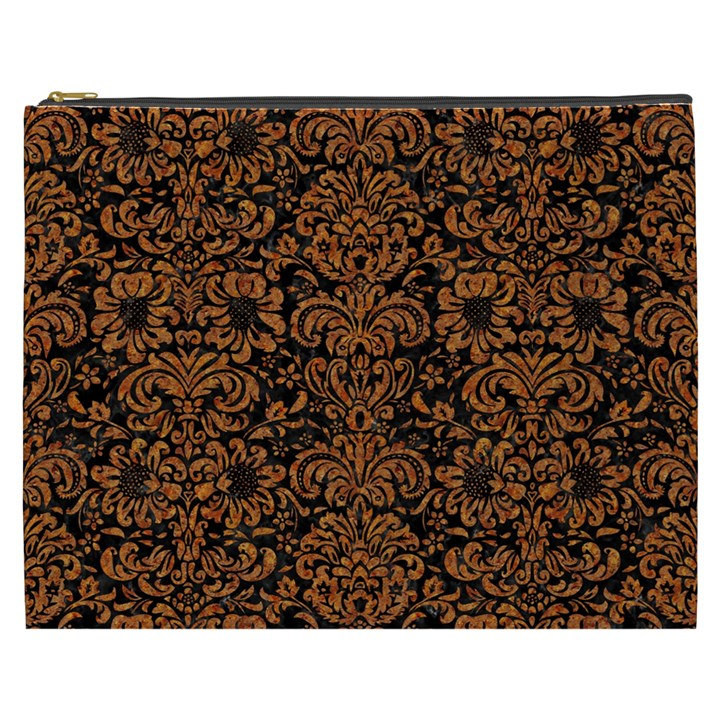 DAMASK2 BLACK MARBLE & RUSTED METAL (R) Cosmetic Bag (XXXL)
