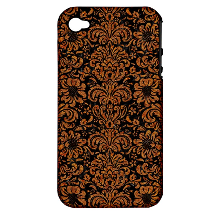 DAMASK2 BLACK MARBLE & RUSTED METAL (R) Apple iPhone 4/4S Hardshell Case (PC+Silicone)
