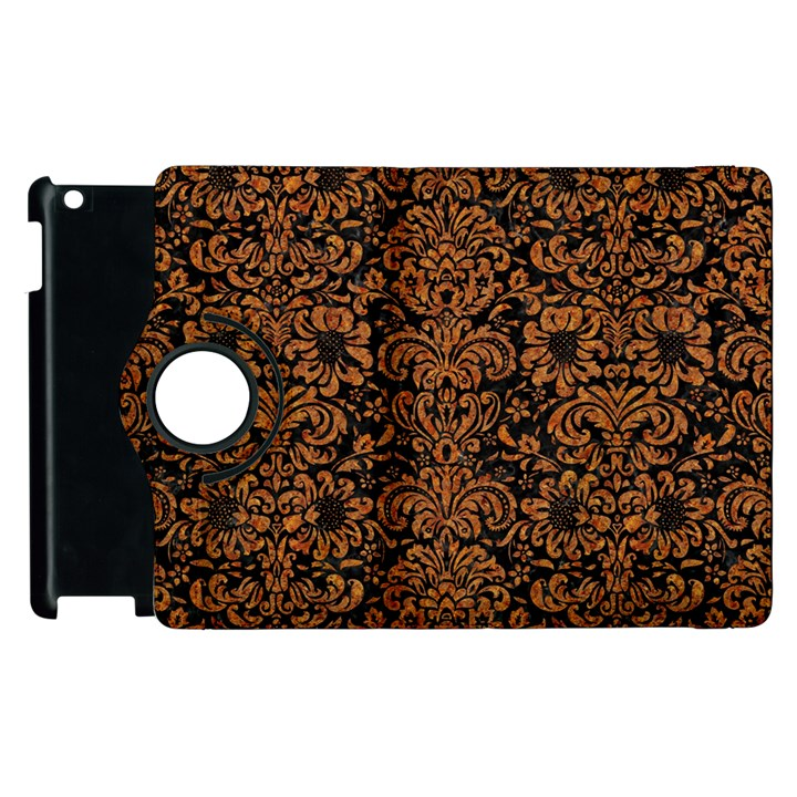 DAMASK2 BLACK MARBLE & RUSTED METAL (R) Apple iPad 3/4 Flip 360 Case