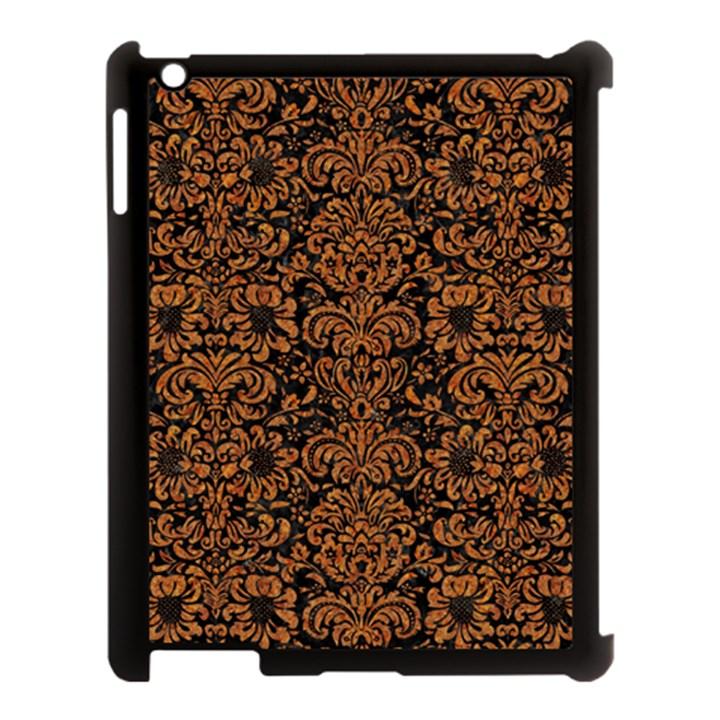 DAMASK2 BLACK MARBLE & RUSTED METAL (R) Apple iPad 3/4 Case (Black)