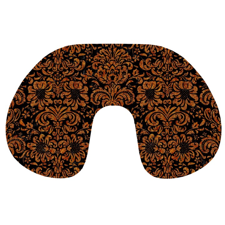 DAMASK2 BLACK MARBLE & RUSTED METAL (R) Travel Neck Pillows