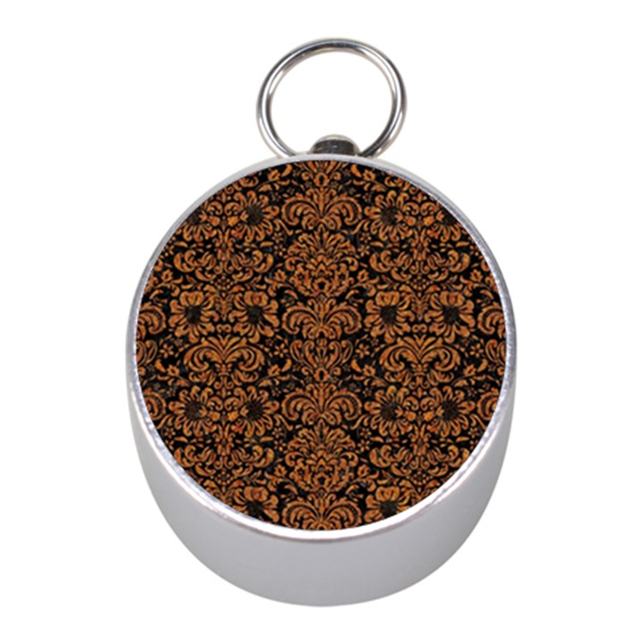 DAMASK2 BLACK MARBLE & RUSTED METAL (R) Mini Silver Compasses