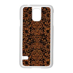 Damask2 Black Marble & Rusted Metal (r) Samsung Galaxy S5 Case (white)