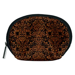 Damask2 Black Marble & Rusted Metal (r) Accessory Pouches (medium)