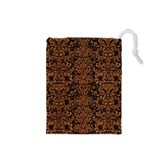 Damask2 Black Marble & Rusted Metal (r) Drawstring Pouches (small)