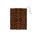 DAMASK2 BLACK MARBLE & RUSTED METAL (R) Drawstring Pouches (Small)  Front