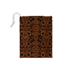DAMASK2 BLACK MARBLE & RUSTED METAL (R) Drawstring Pouches (Small)  Back