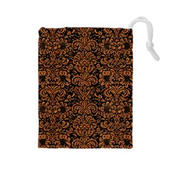 Damask2 Black Marble & Rusted Metal (r) Drawstring Pouches (large)