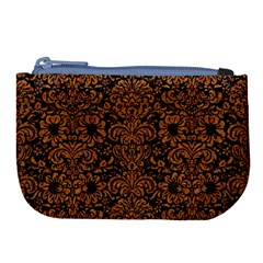 Damask2 Black Marble & Rusted Metal (r) Large Coin Purse