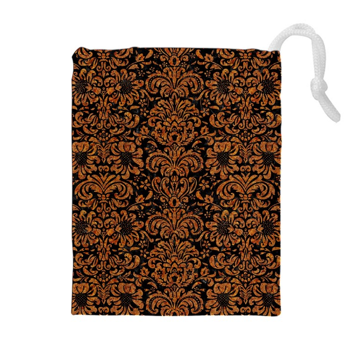 DAMASK2 BLACK MARBLE & RUSTED METAL (R) Drawstring Pouches (Extra Large)