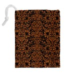 DAMASK2 BLACK MARBLE & RUSTED METAL (R) Drawstring Pouches (Extra Large) Back