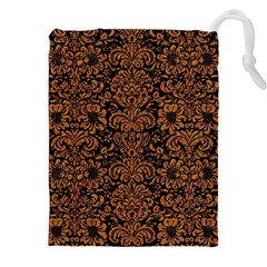 Damask2 Black Marble & Rusted Metal (r) Drawstring Pouches (xxl)