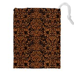 DAMASK2 BLACK MARBLE & RUSTED METAL (R) Drawstring Pouches (XXL) Front