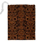 DAMASK2 BLACK MARBLE & RUSTED METAL (R) Drawstring Pouches (XXL) Back