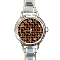 Houndstooth1 Black Marble & Rusted Metal Round Italian Charm Watch