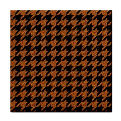 Houndstooth1 Black Marble & Rusted Metal Tile Coasters